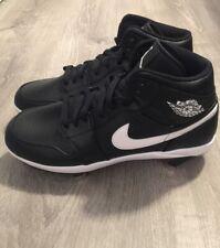 Nike Air Jordan 1 Retro Mid Metal Baseball Cleats SZ 9.5 Black White AV5355-001