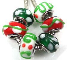 Lampwork Handmade Glass Fit Charm Bracelet Christmas III (6)