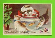 LATVIA LETTLAND CATS AND AQUARIUM WITH FISH happy Birthday VINTAGE POSTCARD 269
