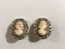 Shell Cameo Marcasite Clip on Earrings Vintage 800 European Silver Hand Carved