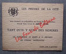 CARTON INVITATION FILM TANT QU IL Y AURA DES HOMMES PRESSES CITE CINEMA NORMANDI