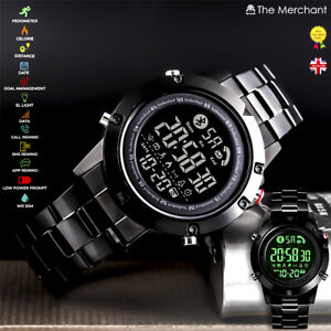 MENS SMART WRIST WATCH BLACK ANDROID IOS SPORTS FITNESS TRACKER STAINLESS STEEL