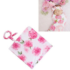 Newborn Baby Girl Floral Sleeping Swaddle Blanket Wrap+Headband Clothes Set Best