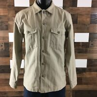 Mens Wallace Barnes Button Front Work Shirt Jacket Duck Canvas Beige Sz Large