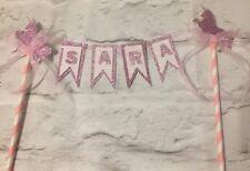 Personalised unicorn bunting birthday cake topper pink princess age glitter 1st