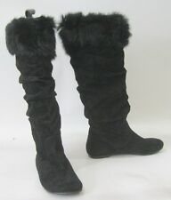 new Black Slouch Flat Sexy Knee Boot Top Rabbit Fur Round Toe Size 5