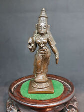 RARE ANTIQUE 18th CENTURY HINDU BRONZE LAKSHMI FIGURE STATUE INDIAN