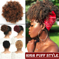 Puff Ponytail Bun Clip In As REAL Hair Extension Afro Black Updo Thick Chignon J