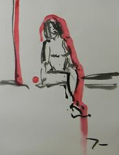 JOSE TRUJILLO - MODERN ABSTRACT EXPRESSIONIST INK WASH RED Figurative Nude Woman