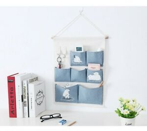 Simple Home Organizer Printing 6 Pockets Wall Hanging Storage Bag Waterproof