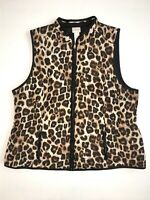 Chico's Reversible Cheetah Print / Black Quilted Vest Size 2/ L / 12