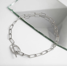 Wanderlust & Co Infusion XL Silver Stainless Steel Minimal Choker Chain Necklace