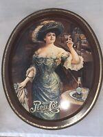 """Vintage """"Drink Pepsi Cola Delicious Healthful"""" METAL Serving TRAY Oval Victorian"""