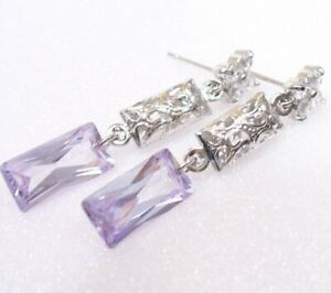 Women Lavender Purple Cubic Zirconia CZ Long Dangle Earrings White Gold Plated