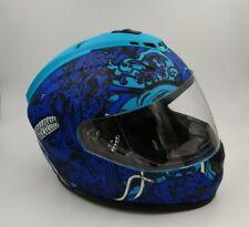 1STORM Full Face Motorcycle Helmet Dual Lens Sun Visor Matte Blue Monster Skull