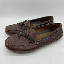 LL Bean Pebbled Mocassins Slippers Leather Sole Lined Men's Size 9D