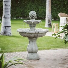 "33"" Resin 3 Tier Garden Solar Pineapple Water Fountain Outdoor Home Furniture"