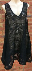 City Chic Black Knit Tunic Top sleeveless NWOT tagged plus size Small  14-16