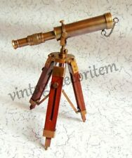 10 Inch Solid Brass Antique Telescope With Wooden Tripod Stand Collectible Gift