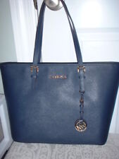 NWT Michael Kors Jet Set Travel Leather Top Zip Tote Handbag Navy
