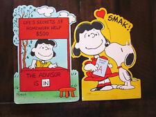 Vintage HALLMARK 2 Die Cut Wall Decorations Lucy Snoopy Peanuts School Days