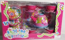 Girls Pink Garden Party Flower Tea Set Butterflies Bees 15 pcs Tray 3+ NEW