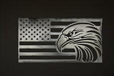 """EAGLE FLAG"" Custom CNC plasma cut metal sign wall art 14 x 26 made in USA"