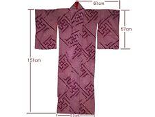 Vintage Wine-Red Silk Shibori Manji-Kuzushi Design Kimono Nov17-B