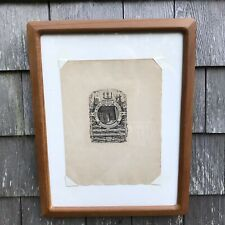 Antique Original Bookplate Engraving Etching Bibliophile Society Signed Framed