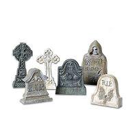 SVH Village Tombstones Set of 6 Snow Village Halloween Dept 56 Accessory 53065