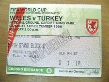 Tickets- FIFA World Cup 1998 Qualifying- WALES v TURKEY, 14th December 1996