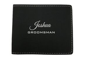 Personalized Mens Wallet, Black Bifold, Groomsman Gift, Fathers Day Gift, Bifold