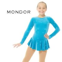 MONDOR Sapphire White Glitter Figure Skating Competition Dress Child Adult Sizes