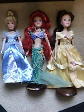 "Disney Porcelain Doll 16"" EUC Lot of 5 Dolls Bell Cinderella  Ariel"