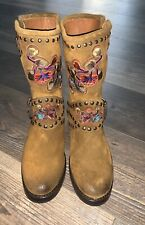 Frye Nat Engineer Flower Boots Wheat Brown Size 6.5 New