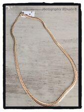 Chaîne Collier Maille Anglaise Plate Plaqué Or 18 Carats Poinçonné Bijoux Femme