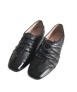 Taryn Rose Candyce Women's Black Patent Leather Lace Up Flats Size 8.5