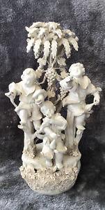 Stunning Vintage Parian Ware Large Ornate Cherubs Figural Group