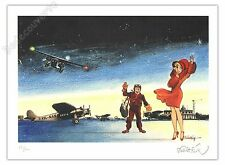 Ex-libris Walthéry Natacha L'avion 100ex signé 22x29,7 cm