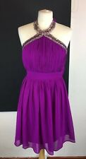 Jane Norman Size 8 Purple Halterneck Silver Beaded Detailing Mini Skater Dress