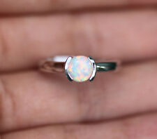 10k White Gold Round Opal semi bezel Solitaire Ring