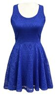 Express Womens Blue Lace Sleeveless Fit And Flare Dress Size XS