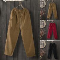 ZANZEA 8-24 Women Summer Elastic High Waist Pants Corduroy Straight Leg Trousers