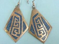 Sterling Silver Made in Mexico Inlaid Turquoise Dangle Earrings 925 RVF