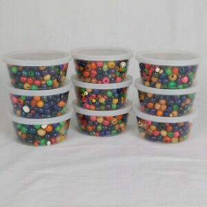Lot of 9 Tub Wooden Beads Bulk approximately 3 ounces per tub almost 2 lbs total