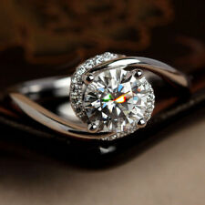 White Round Stone In 925 Silver Women's Unique Flored Halo Engagement Ring With