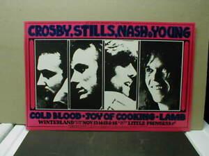 ORIG. 1969 BILL GRAHAM BG 200 WINTERLAND POSTER - CROSBY, STILLS, NASH, YOUNG