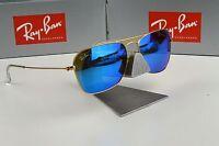 NEW Ray-Ban Caravan Gold Blue Mirror RB3136 112/17 Sunglasses 55mm