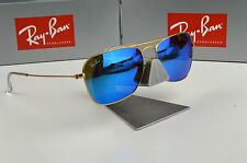 570db960654 NEW Ray-Ban Caravan Gold Blue Mirror RB3136 112 17 Sunglasses 55mm
