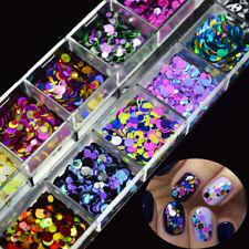 12 Juego De Brillo Confeti Rejilla arte en uñas Hágalo usted mismo Redondos Holográfico puntos fiesta lentejuelas